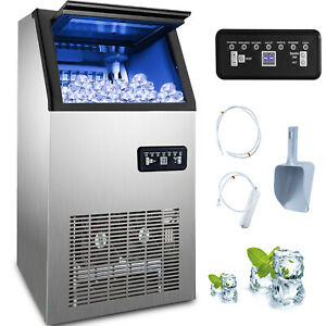 60kg Built in Commercial Ice Maker Ice Cube Making Machine 132lb 5 9 Clear Cubes