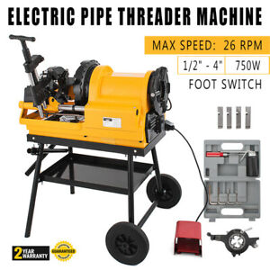 Pipe Threading Machine Foot Switch 1 2 4 750w 110v Self oiling Npt Electric