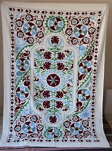 Suzani Hand Embroidered Quilt Twin Bedding Vintage Blanket Bohemian Throw Sz19