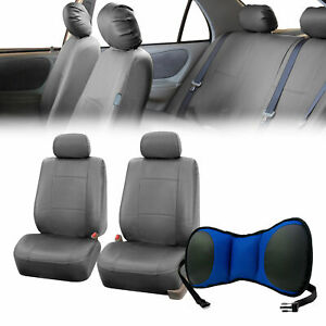 Pu Leather Front Bucket Pair Gray For Auto With Seat Back Cushion Pad Blue