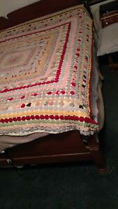 Vintage 1930s Puff Yoyo Hand Made Quilt Bed Cover Shown On Full Size Bed