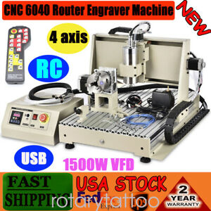 Usb 4 Axis Cnc Router 6040t Engraver Metal Drill Mill Machine 1 5kw Controller