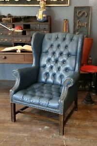 Vintage Chippendale Blue Wingback Chair Chesterfield Tufted Button Furniture Vtg