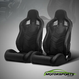 2 X Reclinable Black Pvc Punching Leather Left Right Racing Seats Slider Pair