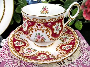 Rosina Tea Cup And Saucer Pretty Floral Rose Red Pattern Teacup
