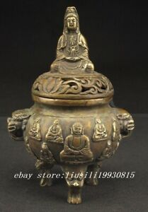Chinese Decorated Handwork Old Copper Carved Buddha Kwan Yin Incense Burner