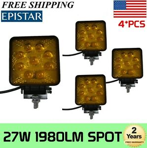 4x 27w Spot Work Led Light Fog Lamp Square Amber Offroad Suv For Jeep Truck 5d
