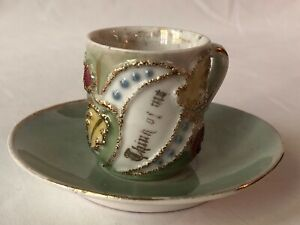 Victorian Think Of Me Friendship Mini Mug Cup Saucer Gold Details Germany