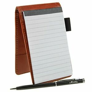 Small Pocket Pu Leather Business Notebook Lined Memo Pad Holder Jotter