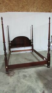 Thomasville Flame Mahogany Chippendale Full Size Bed Poster Set