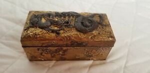 Chinese Repousse Brass Copper Box Dragon And Floral Designs C1900 Hallmark