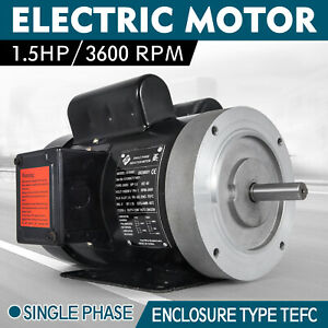 Electric Motor 1 5hp 56c 1 Phase Tefc 115 230v 3600rpm 60hz Keyed Shaft