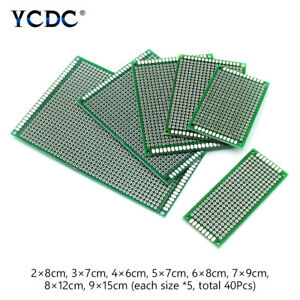 40pcs Pcb Printed Circuit Board Proto Breadboard 8 Sizes Mix For Diy Projects 3