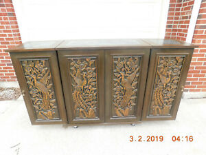 Vintage Rare Carved Dry Bar W Marble Top Inserts