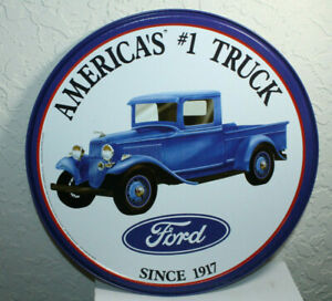Ford Trucks 12 Round Vintage Style Metal Signs Oil Gas Pump Man Cave Dad 2