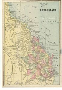 Antique 1893 Map Of Queensland Australia