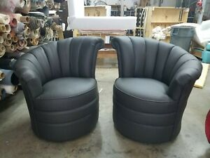 Pair Of Black Leather Art Deco Style Fan Back Swivel Club Chairs