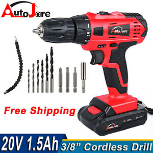 20v Electric Cordless Drill Set Rechargeable Screw Driver drill Li ion Battery