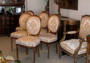 Six Spectacular Gilded Louis Xvi Dining Chairs In Satin Damask Brocade Fabric