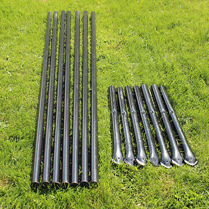 7pk Steel Fence Posts Galvanized Black With Sleeves For 5 Animal Fencing