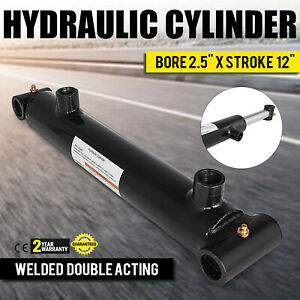 Hydraulic Cylinder 2 5 Bore 12 Stroke Double Acting Forestry Garden Cross Tube