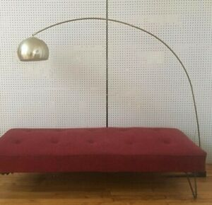 Vintage Midcentury Modern Arc Floor Lamp W Telescoping Arm Steel Silver Eyeball