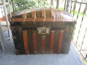 Antique Dome Steamer Humpback Trunk Brass And Wood Ornate Clean Pick Up Only