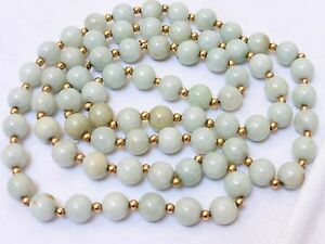 Chinese Vintage 14k Gold Green Jade Beaded Necklace No Clasp 68 Grams