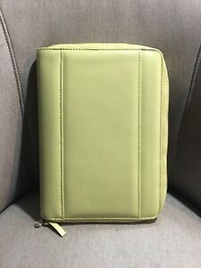 Franklin Covey Classic 365 Full Zip Wasabi Green Leather Planner 7 Ring Binders