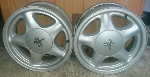 1991 1993 Mustang Lx 5 0 Gt 4 Lug Oem 16 Pony Wheel Rims Pair With Caps