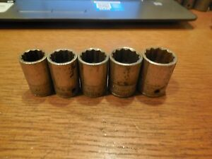 5 Qty Vintage Snap On 1 2 Drive 12 Point Sockets Old Logo 5 8 To 7 8