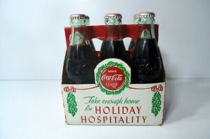 Coca Cola 6 Pack Bottles 1988 Holiday Hospitality Commemorative Box - ALL FULL!!
