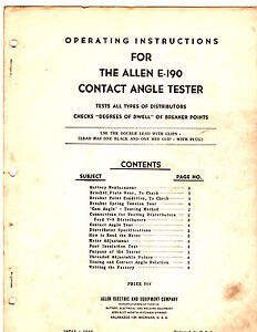 Allen E 190 Contact Angle Tester Operating Instruction Manual Re 3