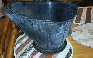 Vintage Black Metal Coal Ash Scuttle Bucket Pail Neat Antique Looking Piece