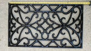 Lg Vintage Antique Ornate Cast Iron Grate Decorative Floor 30x17 5 Original