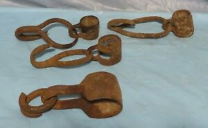Old Hand Forged Iron Ring Hook Metal Farm Singletree Hardware Rusty Lot Of 4