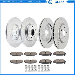 Front And Rear Discs Brake Rotors Ceramic Pads For Dodge C V 2012 2014 Drilled