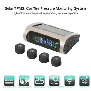 Solar Lcd Car Tire Pressure Wireless Monitoring Alarm System W 4 Internal Sensor