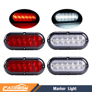 6 Oval Led Stop Turn Reverse Tail Marker Lights Sealed Red White Surface Mount