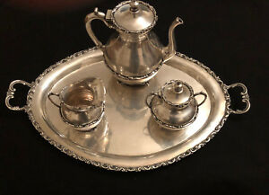 Antique Mexican 925 Sterling Silver Tea Set Tea Pot Sugar Creamer And Tray