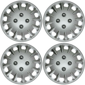4 Piece Set Hub Caps Abs Silver 14 Inch Wheel Cover For Oem Rims Cap Covers