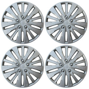 4pc Hub Cap Abs Silver 16 Inch Rim Wheel Cover Universal Hubcaps Covers Caps