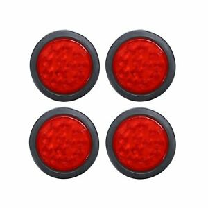4x 4 Round 12 Led Stop Turn Brake Tail Light Flush Mount Truck Trailer Red