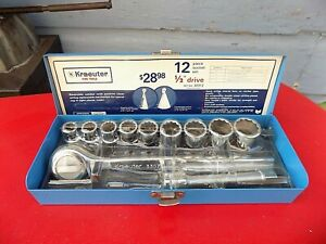 Kraeuter Fine Tools 12 Pc 1 2 Drive sae 12 Pt Socket Set 7 16 Thru 15 16 sk s k