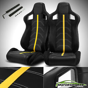 2 X Reclinable Black Pvc Suede And Yellow Line Left Right Racing Seats Slider