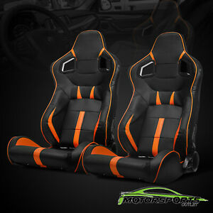 Pair Black Pvc Main And Orangge Side Racing Seats With Single Adjustor Slider