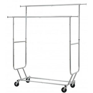 Heavy Duty Clothing Commercial Garment Rolling Collapsible Double Hanger Chrome