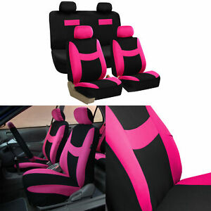 Car Seat Covers Pink Black Complete Full Set For Auto Vehicle Upholstery