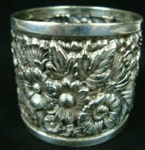 Antique Tiffany Co Silver Plate Repousse Napkin Ring Floral Design