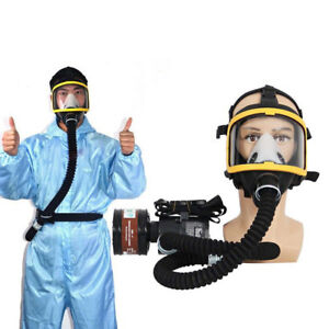 Electric Air Fed Full Face Gas Mask Constant Flow Supplied Respirator System Kit